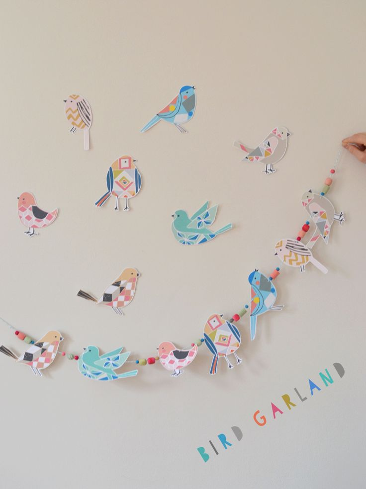 bird garland made from printables