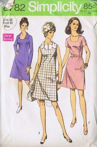 Vintage Dress One PC Sewing Pattern Simplicity 8782 Size 18 Bust 40 Hip 42 Uncut | eBay