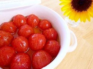 「プチトマトのにんにくマリネ」パスタやサラダその他お料理の付け合せなどに作り置きしておくと便利です♪【楽天レシピ】