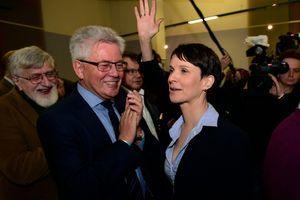 Frauke Petry, dirigeante de l'AFD, à l'annonce des premiers résultats des élections, à Berlin, le 13 mars.