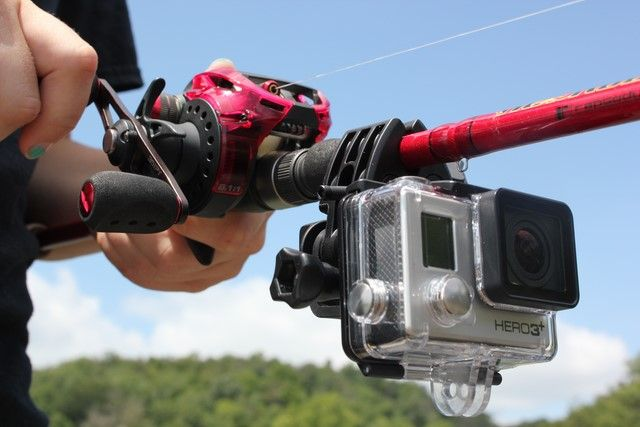 The GoPro Sportsman Mount attaches to the anglers rod allowing them to video new angles and views with a GoPro camera with never seen before in videos. Photos copyright Brad Wiegmann Outdoors.http://www.bradwiegmann.com/tackle/accessories-and-electronics/1262-gopro-sportsman-mount.html