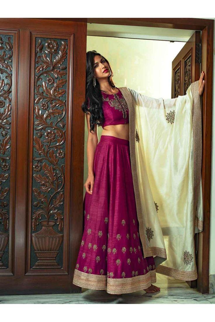 Price Rs.58,500/- Buy Magenta Raw silk #Lehenga with Chanderi ivory #dupatta Online in India