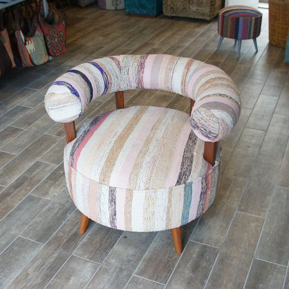 Arm Chair upholstered with Vintage Cotton Kilim by DjemOverdyedRug