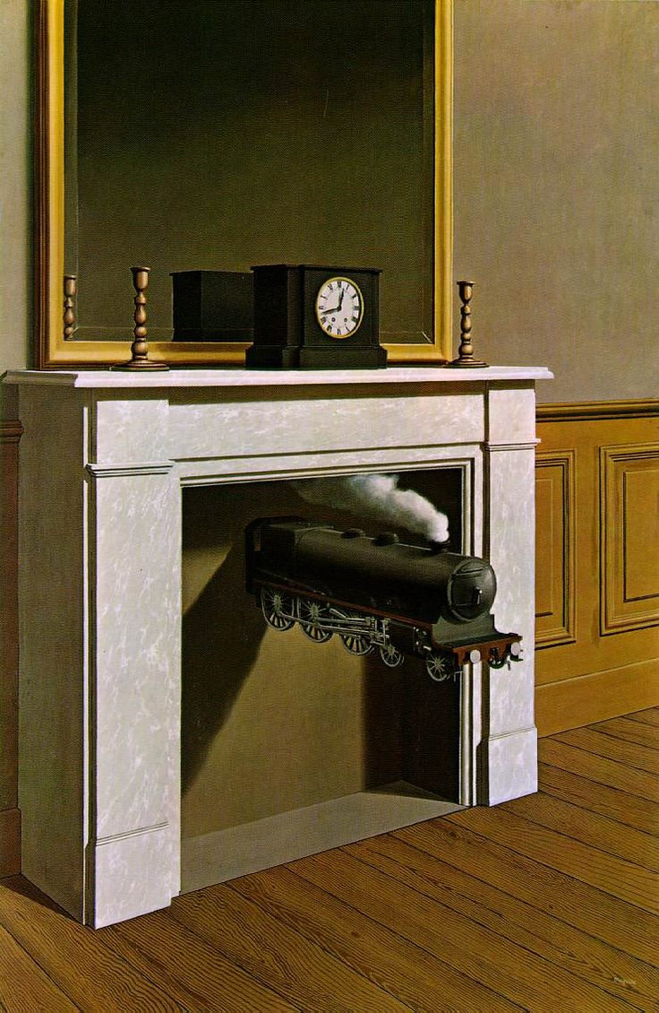 "Time Transfixed,1938  Magritte described his motivation for this painting:  ""I decided to paint the image of a locomotive . . . In order for its mystery to be evoked, another immediately familiar image without mystery—the image of a dining room fireplace—was joined."""