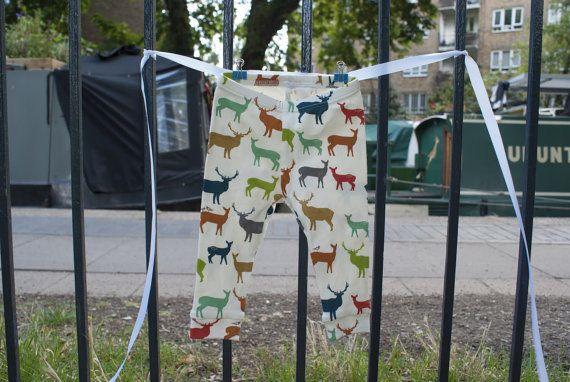 Baby leggings boy/girl Deer print organic cotton by InALandFarAway