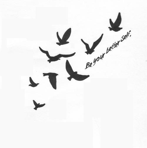 crow flower tattoo | birds # sky # gif # black and white