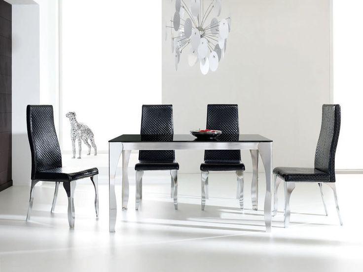 Mesa de comedor en aluminio-cristal con diferentes medidas para elegir. Sillas a juego tapizadas en negro o blanco.