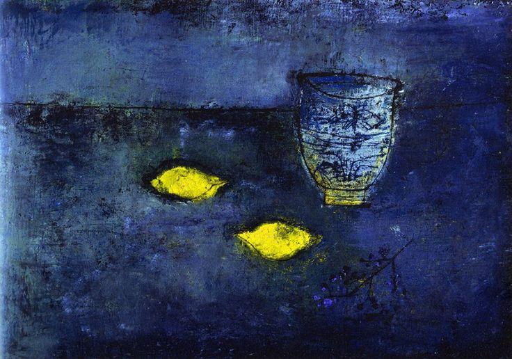 Zao Wou-Ki : nature morte aux citrons et vase