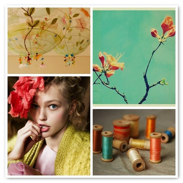 turquoise and coral: Coral, Color Inspiration, Green, Thread, Inspiration Boards, Exquisite Tasting, Blog, Colour Mixed, Caramel