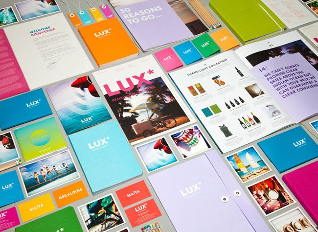 Lux Island Resorts isn't afraid of bright colors! Check out the tropical rainbow they used throughout all their printed materials. Designed by & Smith of London.