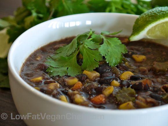 Low Fat Vegan Chef's Mexican Black Bean Corn Soups recipe. Delicious!