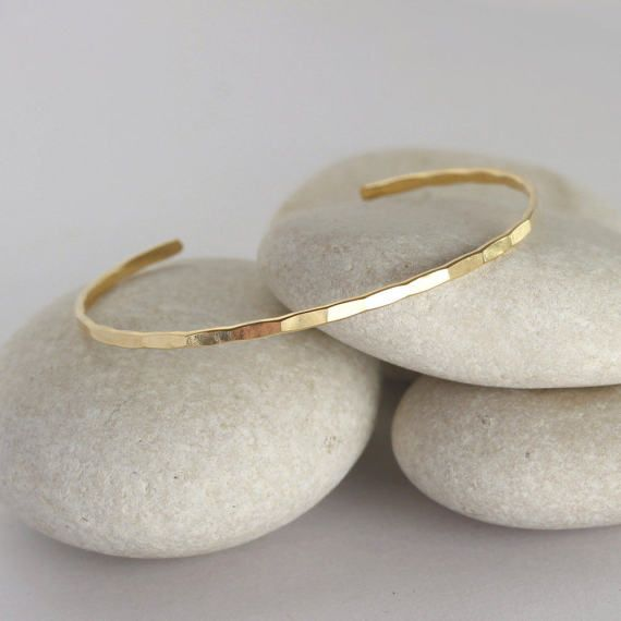 Solid Gold Cuff Bracelet Hammered Solid Gold Bangle Simple