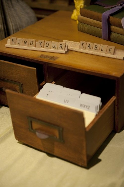 """Seating chart"" in a card catalog drawer- would go with a Literary Love Story theme  Keywords: #literarythemedweddings #jevelweddingplanning Follow Us: www.jevelweddingplanning.com  www.facebook.com/jevelweddingplanning/"