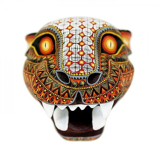 David Hernandez Jaguar Mask- #woodcarving Oaxaca Mexico
