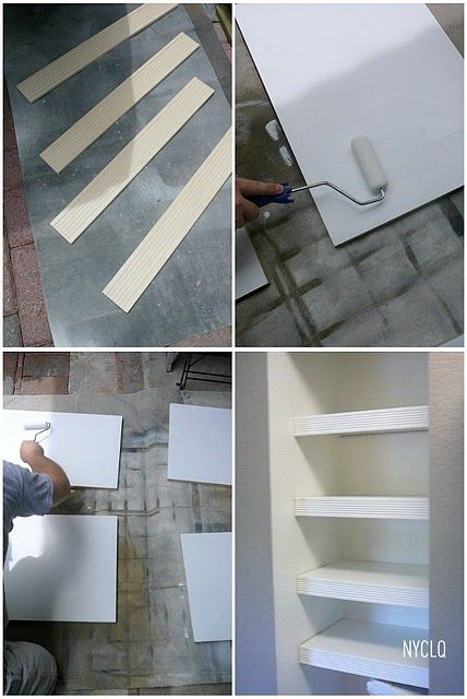 "Hide ugly wire shelves with wood covers - cut 3/8"" plywood/MDF to size of shelf, paint; cut 3 1/2""  molding to length of shelves, paint, glue AND attach with finishing nails, putty nail holes & touch up as needed."