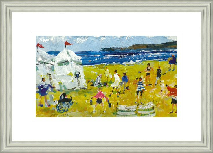 'Beach Fun' by Sue Howells. High Quality Reproduction Framed Print finished with glass panel & expertly framed by Spires Art framing team. Size: 14in X 18in