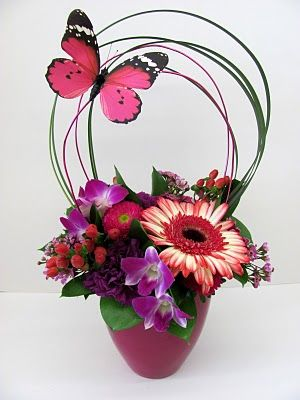 """""""HAIRSPRAY"""" - A bouffant of bright colored blooms!    Worcester florists - Sprout: Valentine's Day 2011 - The Broadway Collection"""