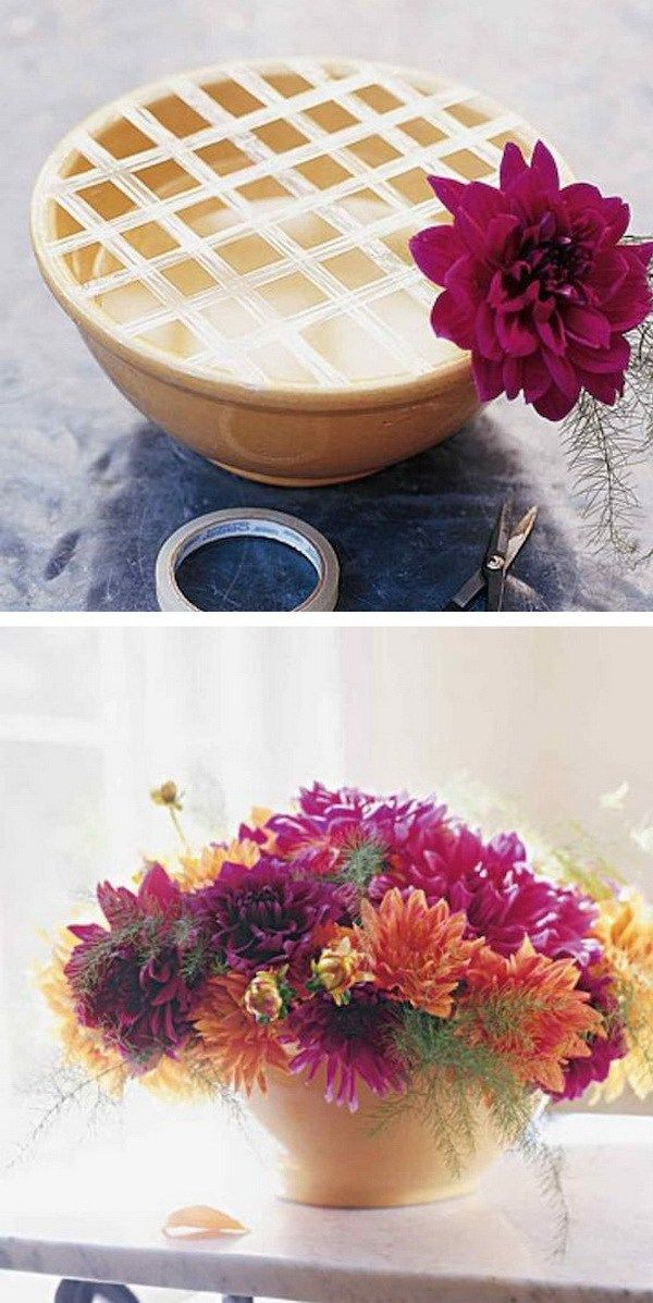 Flower Arrangement in Wide Month Vase or Bowl with Cellophane Tape. Use cellophane tape or any other tape you have to help with flower arrangements. Worked like a pro!