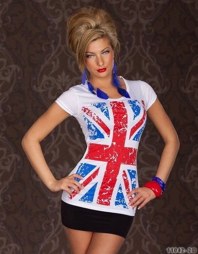New Hot Summer Look England Flag pattern women T-shirt Sz:S/M