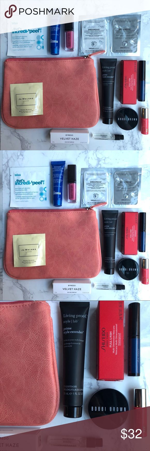 NWT 16 pc Makeup/Skincare Product Bundle Includes byTerry cosmetics bag, Laura Mercier lipgloss, Dr. Brandt PoreDermabrasion, Jo Malone Orange Blossom Hand/Body Lotion, Living Proof Prime Style Extender, Bobbi Brown Bronzer, GlamGlow DreamDuo, Byredo Velvet Haze, Shiseido Full Lash Mascara, Smith and Cult Lipgloss, Bliss That's Incredi-Peel. All brand new never used. Sephora Makeup