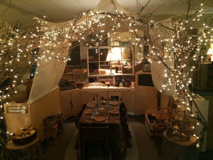 Fairy lights in home corner