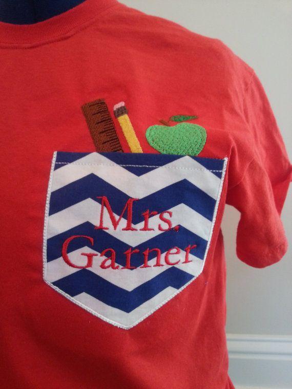 Monogram Pocket T-Shirt For Teachers on Etsy, $17.00