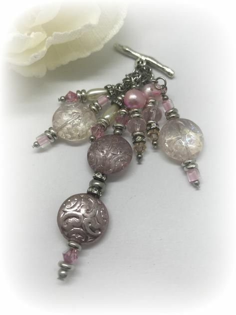 Interchangeable Pink Faceted Glass and Pearl Beaded Pendant w/ Stainless Steel & Pewter. Unique Interchangeable Design.