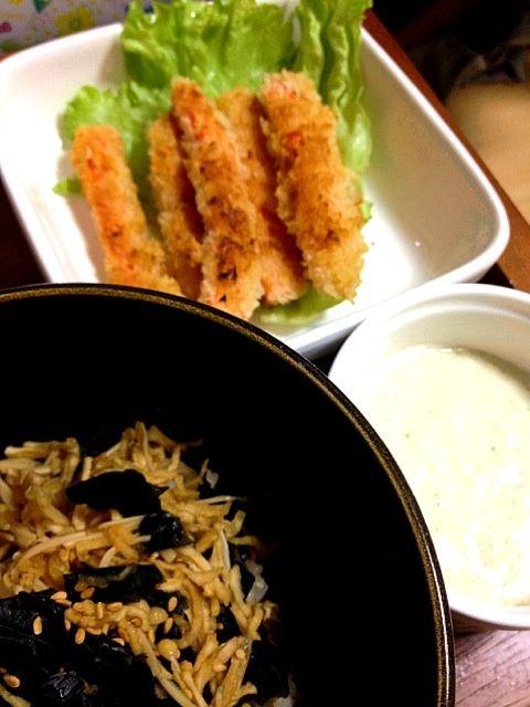 とっても甘くて美味しいにんじんフライでした。タルタルソースで食べ応え満点☆甘辛い丼も美味しかった〜(*^o^*) - 2件のもぐもぐ - にんじんフライ&豆腐タルタルソース 、えのき切り干しわかめ丼 by miari181