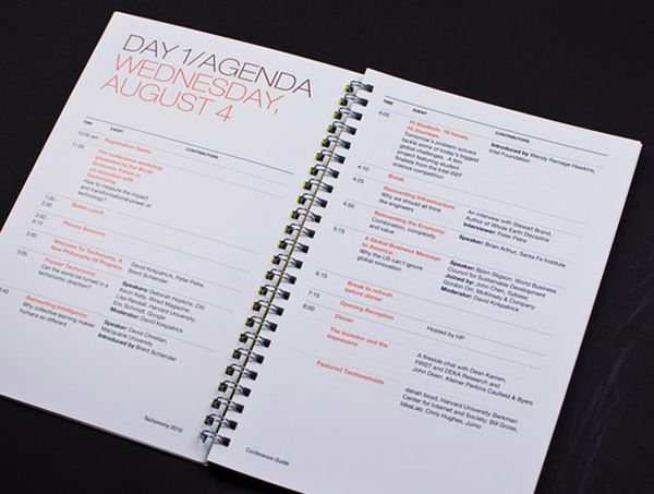 techonomy conference book, agenda page by giles dickerson, via behance #behance…