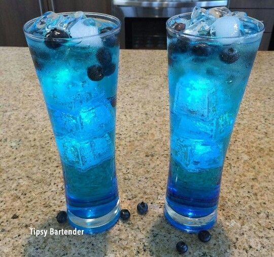 The Fast and Furious. 1oz of Rum, Coconut Rum, Apple Pucker, Blue Curacao and Lemon Lime Soda. Top with Blueberries and Soda Water/Club Soda. It's so good. Tastes just like a Blue Coconut Snow Cone, as Texans like to call it, Raspas!