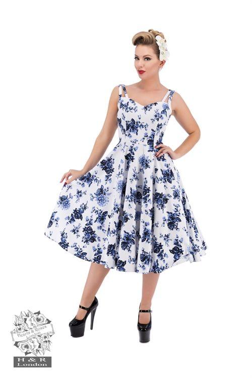 17f5bd1ae58 Blue Rosaceae Swing Dress