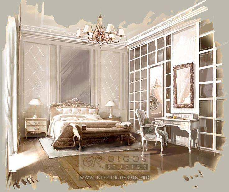 French classic bedroom interior http://interior-design.pro/en/house-interior-design