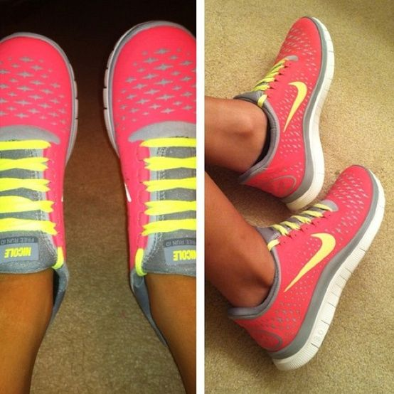 Pink nike shoes with yellow laces and grey trim- LOVE