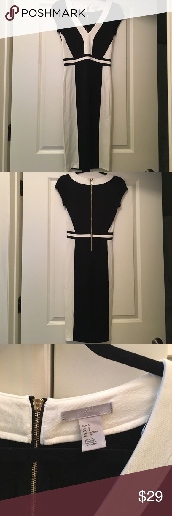H&M dress Sleek black and white midi length dress, great for work transitioning to going out! Never before worn, but tags removed H&M Dresses Midi