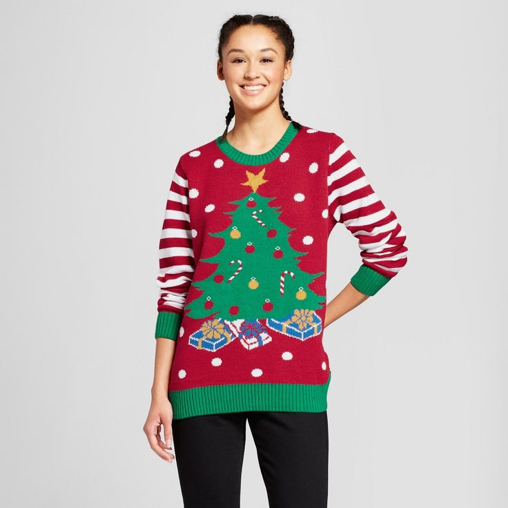 Women's Lightup Tree - Ugly Christmas Sweater - Red S