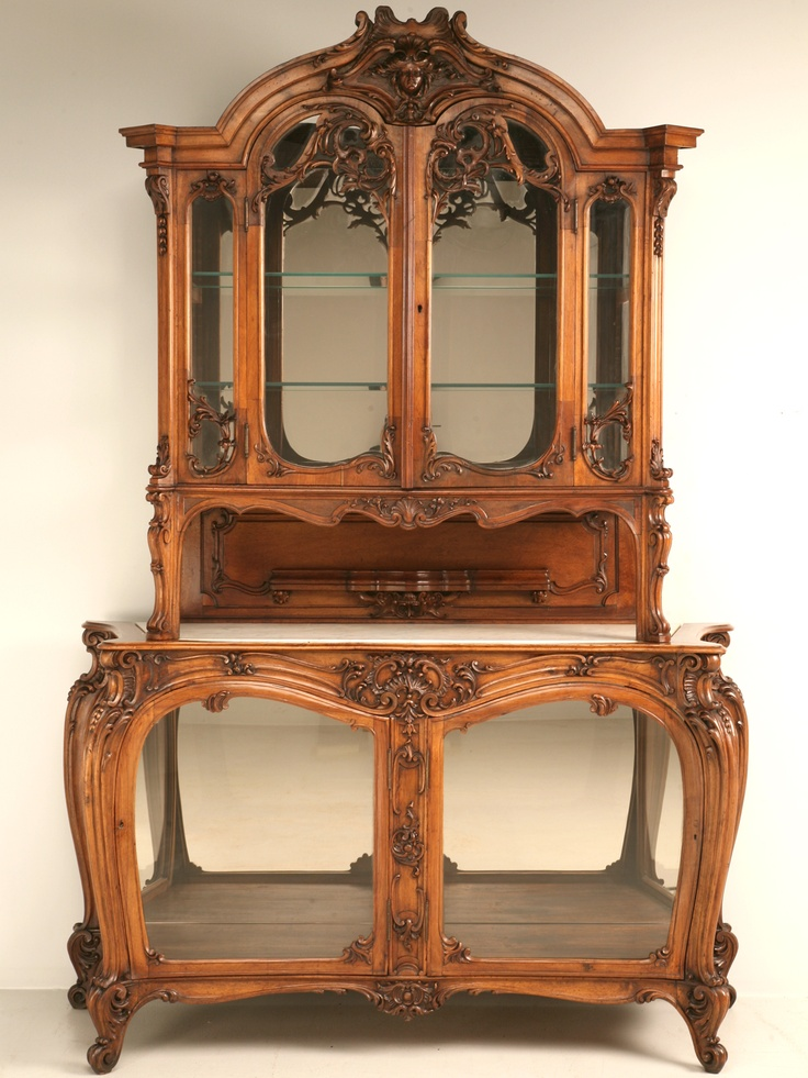 French Walnut China Cabinet, ca. 1900