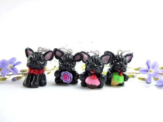 Marcadores de puntada de Bulldog Francés negro (juego de 4) colgante encanto regalo polímero arcilla miniatura perro amante frenchie amigo Tejedor de tejido de punto