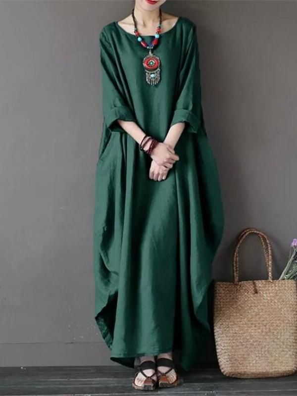 555ba12ba0 Cheap best ZANZEA Vintage Women Solid Sleeve Loose Maxi Dress For Women on  Newchic