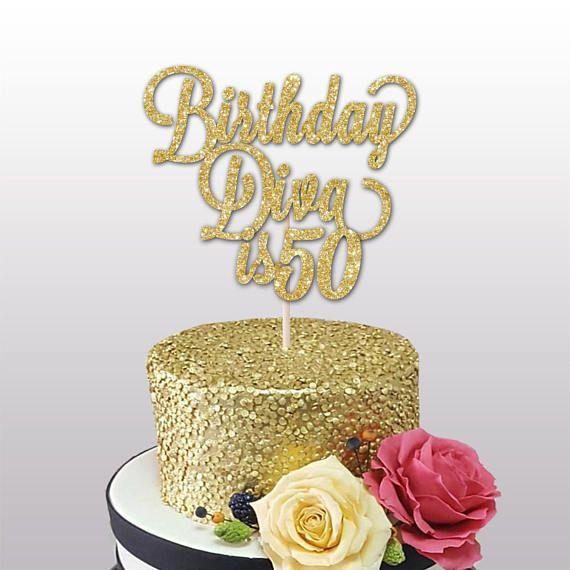 50th Birthday Glitter Card Cake Topper Birthday Diva Is 50 Size 6