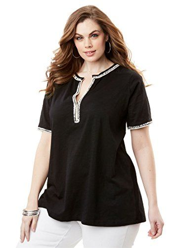 5cfbbf8555b Fashion Bug Women s Plus Size Sequin Embroidered Short Sleeve Top  Black