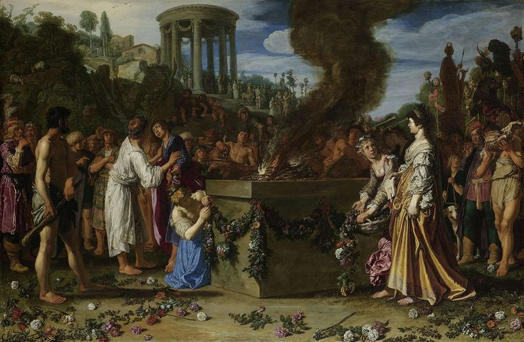 "Orestes and Pylades Disputing at the Altar, Pieter Lastman, 1614.Orestes and Pylades Disputing at the Altar, Pieter Lastman, 1614  oil on panel, h 83.2cm × w 126.1cm. More details  ""This painting depicts a story from Greek antiquity. Orestes and Pylades (left) were caught trying to steal a statue of Diana from the temple (left background). One of them will have to die. ..."""