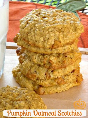 Pumpkin Oatmeal Scotchies ~  How can you go wrong with pumpkin, cinnamon, oatmeal and butterscotch chips. It's the perfect fit!  Recipe @: http://www.mommyskitchen.net/2009/10/oatmeal-scotchies-gone-pumpkin-plus.html