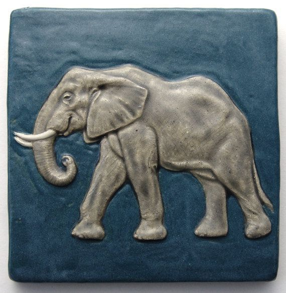 Elephant Tile multiple glazed high fired ceramic by DwightDavidson, $65.00