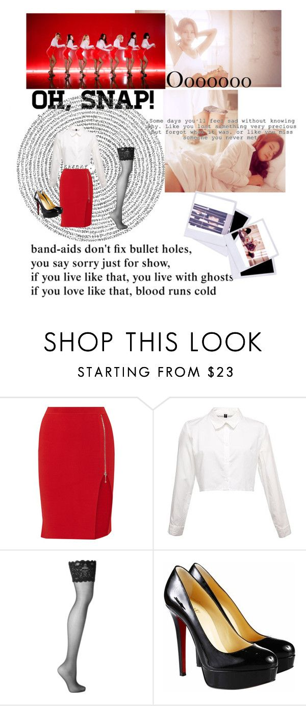 """AOA mini skirt"" by xainyijaaz ❤ liked on Polyvore featuring Alexander Wang, Wolford and Christian Louboutin"