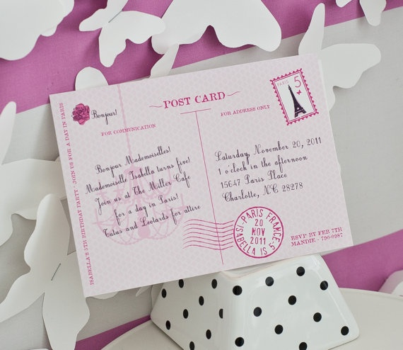 Parisian Party Invitation ~ LOVE these invitiation for either adult or child's party!