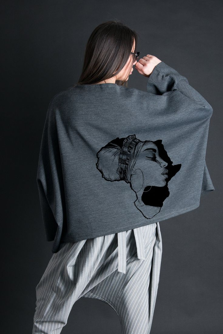 Woman Blouse, Extra Long Loose Sleeve Top, Plus Size Top, Grey Casual Top, Oversize Top - TP0482GE 1