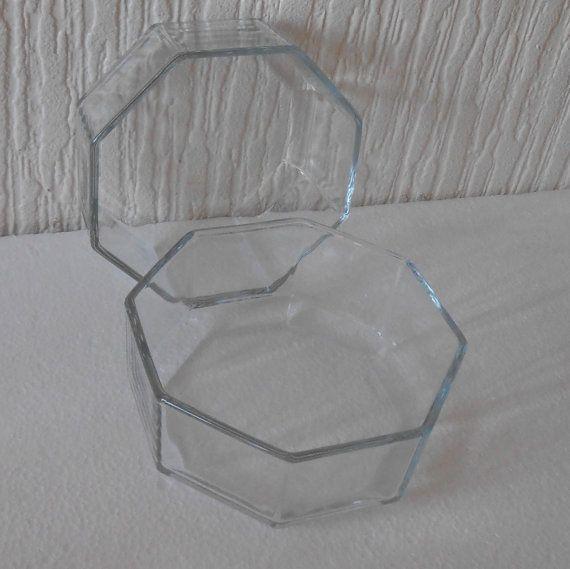 Pair Arcoroc Pyrex France Hexacon novoctime clear by DutchTrader, £12.00