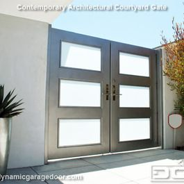 A Steel & Frosted Glass Gate With Modern Chrome Locking Handle & Electric Strike