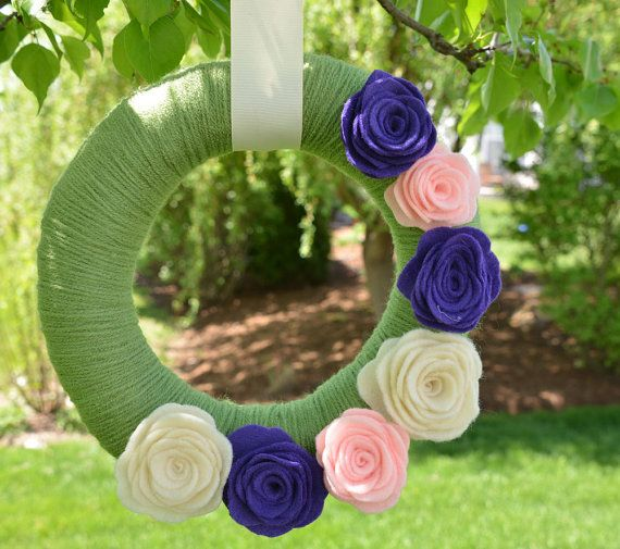 Spring Wreath Handmade Summer Wreath Nursery by KutItOutCrafts