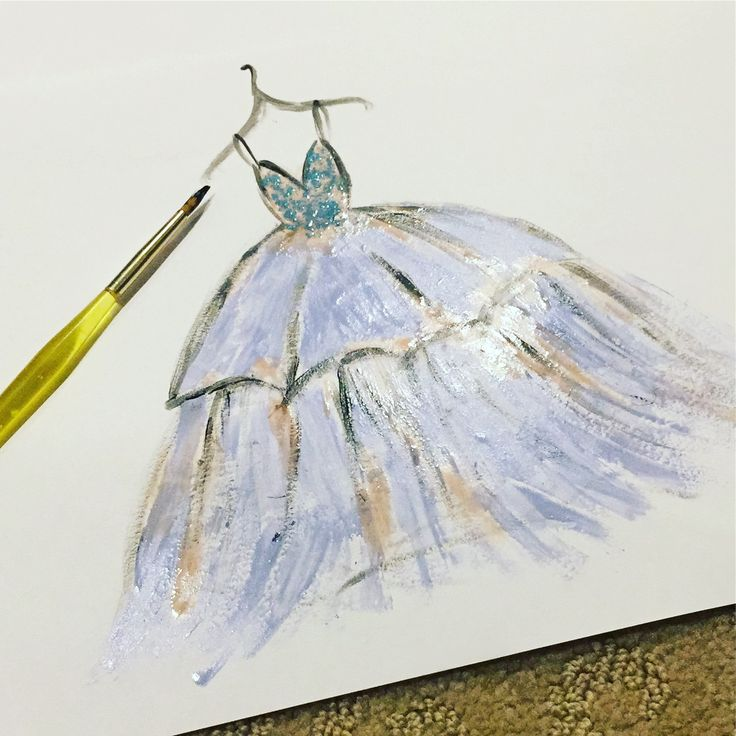Couture drawing with nail polish by Sarah Sohail
